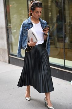 My Closet FAUX LEATHER PLEATED MAXI SKIRT