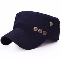 Men Women Classic Army Plain Vintage Hat Cadet Military Baseball Adjustable Cap | eBay