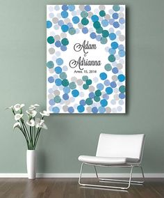 Custom Watercolor Wedding GuestBook 150 signatures. Print on canvas. Ocean Nuances. Choose your colours and number of circles