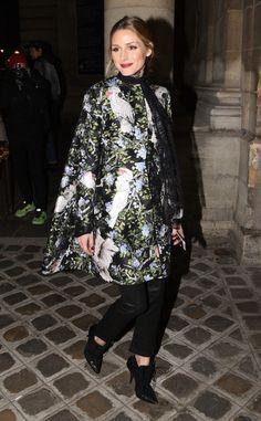 Olivia Palermo - The fashion guru stuns in a floral cape during Paris Fashion Week - January 23, 2017 in Paris