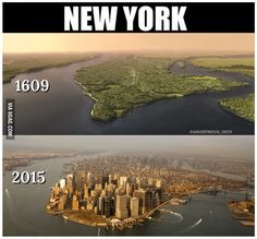 Before there was Manhattan, there was Manhatta. New York City is known as the concrete jungle but before the skyscrapers, . Then And Now Pictures, Before And After Pictures, World Trade Center, Twin Towers, Amazing Places On Earth, New York Pictures, Down The River, Manhattan New York, Photos Voyages