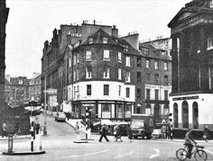 Top of Leith Street as it was in All soon to change once more when the St James Centre bites the dust this year. The pub straight ahead was called the Register Tap. A real working man's boozer, spit 'n' sawdust type of place, so I've been told. Derelict Buildings, England, Island Nations, Grandparents Day, Edinburgh Scotland, Dundee, Belfast, Black And White Photography, Old Photos
