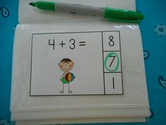Beach Buddies Addition Math Centers (Sums of 0 to 10)  $  Use the cards in a dollar store photo album to make a dry erase math station.   #beach  #addition  #mathstations  #summer #kampkindergarten http://www.teacherspayteachers.com/Product/Beach-Buddies-Addition-Math-Centers-Sums-of-0-10-685820