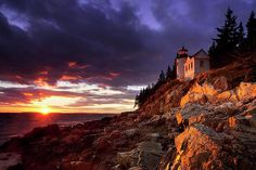 Sunset over Bass Harbor Lighthouse in Acadia National Park, Maine USA. Acadia National Park, National Parks, Bass Harbor Lighthouse, Travel Sights, Travel And Leisure, Landscape Photographers, Dream Vacations, New England, Monument Valley