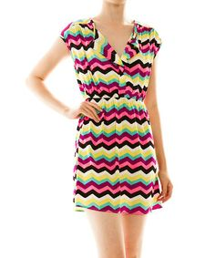 Another great find on #zulily! Yellow & Pink Zigzag A-Line Dress #zulilyfinds