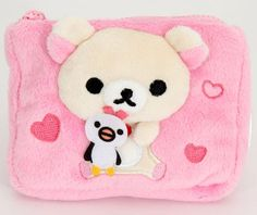 pink San-X plush wallet bear with penguin