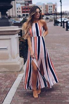 2018 Women Maxi Dress Ladies Party Evening Summer Beach Sundress Womens Long Polyester Natural O-neck Dresses Fashion Vestidos, Fashion Dresses, Dress Outfits, Casual Dresses, Summer Dresses, Look Star, All Star, Striped Maxi Dresses, Boho Dress