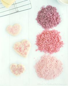 Pink and purple sprinkles made from just fruit juice and sugar in just a few minutes! Perfect for Valentines or a girl's birthday party! | Back To The Book Nutrition