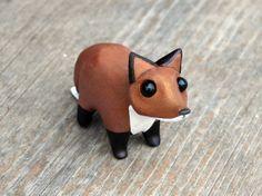 Tiny red fox - Handmade miniature polymer clay animal figure