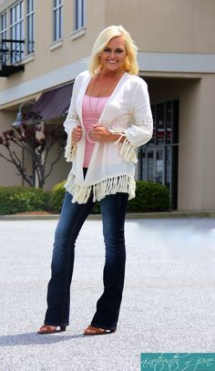 Finding fringe this spring won't be difficult, but you don't have to be decked out in fringe from head to toe to create a Bohemian look. Subtle doses of fringe will do the trick. Cardigans with fringe have become popular and are a great addition to your spring wardrobe. NOJ Boutique