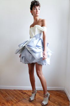 Check out the deal on Audrey--Ivory and Blue/Gray Satin Faced Silk Organza at Eco First Art