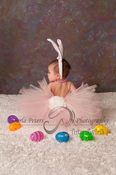 SWEET LiL BUNNY Tutu 3pc Set with Ears Headband and Removable Tail - Perfect for Easter Photos (Sizes up to 3T). $35.00, via Etsy.