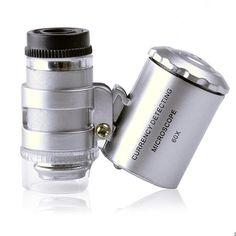 Latest Fancy 60x Handheld Mini Pocket Microscope Loupe Jeweler Magnifier With LED Light  92TV