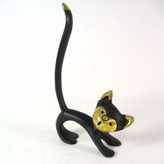 Your place to buy and sell all things handmade Crazy Cat Lady, Crazy Cats, Cat Ring, Vintage Cat, Clay Art, Cool Cats, Kitty, Brass, Statue