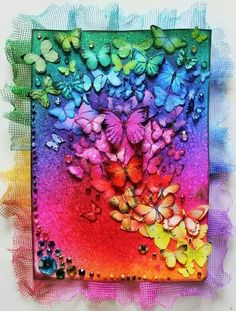 Amazing Photo of Scrapbooking Covers Design Scrapbooking Covers Design Set The Rainbow Free Scrapbook Too Over Top For Liking Cover Design Rainbow Art, Rainbow Colors, Rainbow Butterfly, Rainbow Things, Bright Colors, Rainbow Room Kids, Rainbow Stuff, Rainbow Painting, Mixed Media Canvas