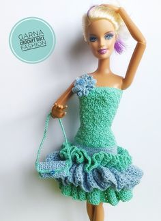 Barbie Clothes Patterns, Doll Patterns, Clothing Patterns, Crochet Patterns, Crochet Doll Dress, Crochet Barbie Clothes, Knit Crochet, Barbie Dress, Knitting