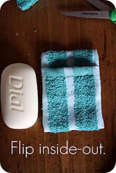 Soap Pouch- here's what I pinned to the original pinner's board: I actually came up with this idea, too!! Great minds think alike. Only diff is I tried to reuse the pouch Johnson & Johnson sells toddler soap in. This idea works better. Good job ;)
