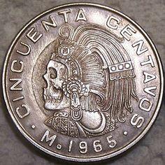 JOHN HUGHEY HOBO COIN - MEXICAN MAYAN SKULL - MEXICAN 50 CENTAVOS COIN