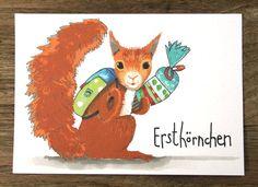 Humor - Eichhörnchen Erstklässler Einschulung Karte - ein Designerstück von hebbedinge bei DaWanda