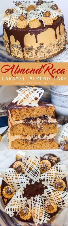 The Almond Roca Cake – an epic cake creation inspired by the famous confectionary! This caramel almond and chocolate cake will steal your heart (and your taste buds!)! I love the sweet and crunchy Almond Roca candy and wanted to create a cake that capture
