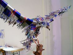 Red Bull cans made into this eagle. WOW