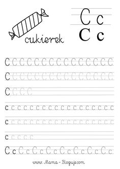 nauka pisania literek - szablon literka C Teaching Cursive, Cursive Handwriting Practice, Handwriting Worksheets, Primary Teaching, Learning Letters, Numbers Preschool, Preschool Worksheets, Kids Learning Activities, Toddler Learning