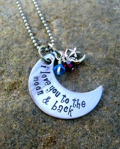 I Love You To The Moon and Back Pendant with Birthstones - Personalized Necklace - Mother's Necklace