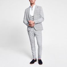 Woven fabric Check print Skinny fit Notch lapels Long sleeve Front flap pockets Single button fastening Our model wears a UK 40 regular and is tall Trouser Suits, Trousers, New Mens Suits, Skinny Fit Suits, 3 Piece Suits, Blue Check, Woven Fabric, Style Guides, Blazer Suit