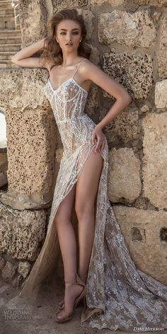 dany mizrachi 2018 bridal spaghetti strap sweetheart neckline full embellishment high side slit nude color sexy a line wedding dress short train (4) mv -- Dany Mizrachi 2018 Wedding Dresses