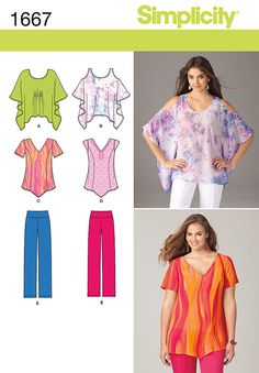 """pullover tops in four styles feature bat-wing sleeve, cold shoulder, v-neckline,   pointed hem, short or cap sleeves. pull on pants have bias-cut yoke & elastic waist for smooth & comfortable   fit.<br><br><img src=""""skins/skin_1/images/icon-printer.gif"""" alt=""""printable pattern"""" /><a href=""""#""""   onclick=""""toggle_visibility('foo');"""">printable pattern terms of sale</a><div id=""""foo"""" style=""""display:none; margin-  top: 30px;"""">digital patterns are tiled and labeled so you can print and assemble in…"""