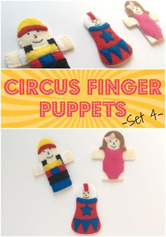 As part of the series of circus-themed soft toys, I designed this fourth set of fun circus finger puppets for On The Cutting Floor.   These little...