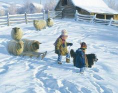 sledging in a village (30 pieces)