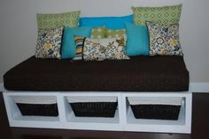Plan from Ana-White.com  Can you build a box? What about three boxes? Then put some trim on the outside edges? Yes? Then you can build a storage bed like this one. The Storage Daybed is actually made up of three benches, very different benches than the Queen-Sized. These benches are much more simple. Thank you readers for the photos! Special thanks to Kara for sharing her amazing bed.