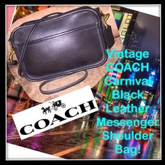 """Vtg COACH Carnival Black Leather Messenger Bag! Vintage COACH Carnival Blk Leather Messenger Shoulder Bag! Features: 100% authentic, Original & Classic Coach bag, Black color, Glove-Tanned leather, Made in USA, Brass hw, front pocket slip pocket, top zip closure, top zip closure & detachable leather strap. Coach hang tag, Coach creed & style no. 9925 on inside front slip pocket. Ret:$295. 8""""x 5.5"""" x 2 1/2"""" with 25"""" body clearance. Can hold iPhone 6+, credit cards, money, etc... No rips…"""