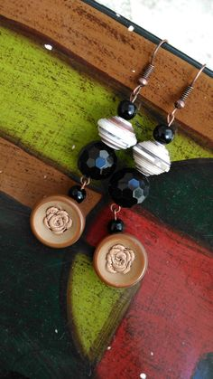 Paper & buttons earrings by Paperandbuttons! Visit our page on FB!