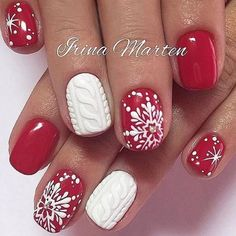 Red & white holiday nail