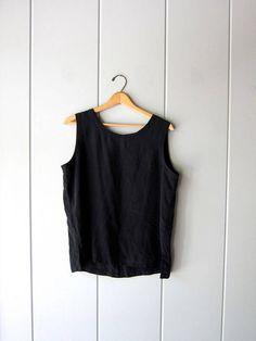 740b0cd207a6 Modern Silk Tank Top Sleeveless Silk Blouse 90s Minimal Silk Top Black  Loose Fit Slouchy Top Silk Boho Chic Vintage Womens Medium Large