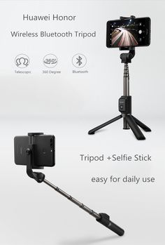 Huawei Honor Wireless Bluetooth Tripod 360 Degree Rotation Adjustable Selfie Stick for Cellphone
