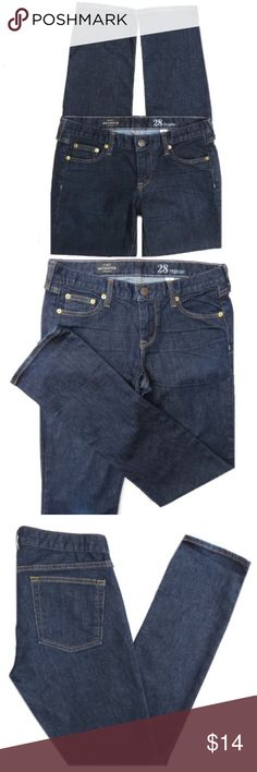 """J. Crew Matchstick Jeans J. Crew Matchstick jeans. Dark blue wash. Cotton/Polyester/Spandex. Size 28 Regular. They have a 8"""" rise and 32"""" inseam. Some fading on knee. Amazing fit! J. Crew Jeans"""