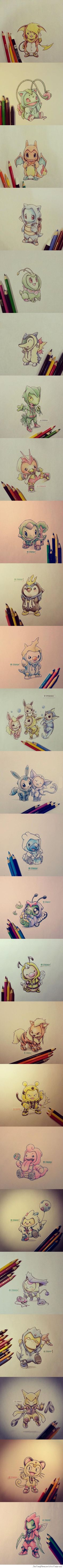 Pokemon in their Evolution Onesies. CX