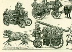 1897 Pompiers Histoire Vehicule Costume Larousse Illustration Grand Format 19ème siècle Vintage 115 ans d'âge de la boutique sofrenchvintage sur Etsy