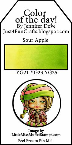 Copic Color of the Day 128 Sour Apple and DoveArt Studios