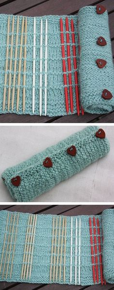 Free Knitting pattern for DPN Needle Roll - Catherine Ward's simple clever design holds double pointed needles in place with strategically placed rows of purl stitches. Be sure to check out the projects for customization ideas. Other knitters have added f