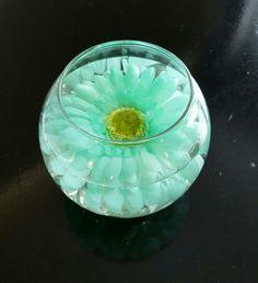 Mint green gerbera daisy centerpiece for my wedding :)