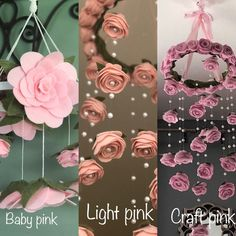 XL vintage blush Felt flower mobile roses and pearls baby girl nursery decor Garden pretty Nursery hanging decor, larger size Felt Roses, Felt Flowers, Paper Flowers, Teacup Flowers, Hanging Flowers, Satin Flowers, Custom Baby Gifts, Pink Crafts, Diy Crafts How To Make