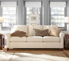 In a loveseat size. Performance tweed desert.Cameron Roll Arm Upholstered Sofa #potterybarn