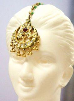 3.9 ct Mirror Old Mine cut Diamond Estate 22k Solid Yellow Gold Natural Ruby Enameled Mughal Kundan Maang Tikka Jhoomar Head Pin 6.91gm by BellaDAndalora