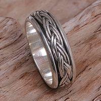Sterling silver band ring, 'Eternal Bond' - Hand Made Sterling Silver Band Ring from Indonesia