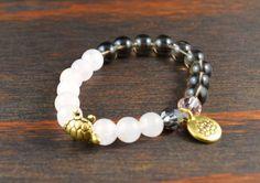 • Opposites Attract! Womens Beaded Yoga Bracelet - Lotus Flower Bracelet - Rose Quartz Bracelet - Smoky Quartz Bracelet - Turtle Bracelet - Lotus and Lava Bracelet •