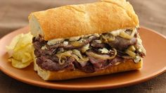 Roast Beef and Gorgonzola Hoagies    Tender beef and tangy blue cheese are broiled on fresh bread in a toasty hot hoagie just right for a casual get-together.